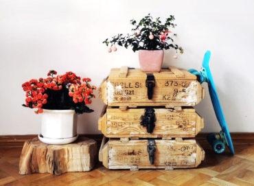 drewniane skrzynie po renowacji